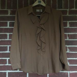Chico's Button Down ruffle brown shirt size 2